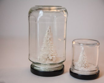 Snow Globes, Set of white snow covered trees in jars, Winter Scape, Nature Scape, Winter is coming