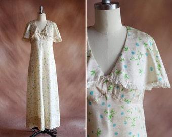 vintage 1970's cream floral silk satin capelet maxi dress with lace trim / size s