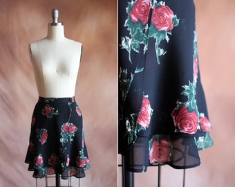 vintage 1990's black chiffon rose print tiered mini skater wrap skirt / size s