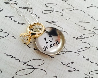 "Petite ""Marry Me"" Engagement Wedding Ring Anniversary Necklace. DESIGN YOUR OWN. Order with silver or gold tone ring."