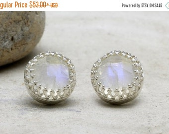SUMMER SALE - Rainbow moonstone earrings,silver post earrings,delicate round earrings,gemstone earrings,silver earrings