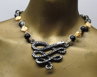SALE Viper snake and skulls black, tan, and grey beaded choker necklace made with hemp. HCK-850