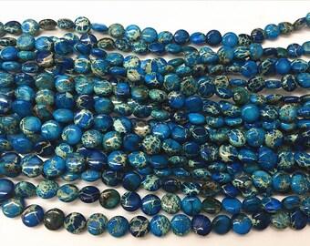"Sea Sediment Imperial Jasper Beads 14mm Flat Round Loose Beads Semiprecious Gemstone 15""L 15""L Blue 4544- Wholesale Beads"