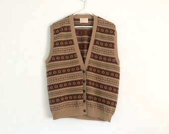 1980s southwestern hipster sweater vest , pendleton sweater , grandma sweater