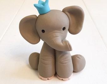 Custom Made Clay Elephant Birthday Cake Topper