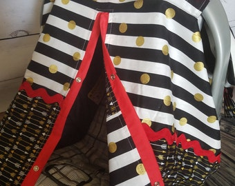 Carseat Canopy carseat cover infant car seat cover nursing cover Black Gold Dot Arrow Red Accents READY TO SHIP