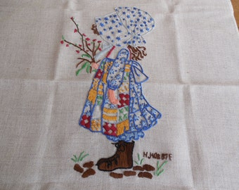Vintage Holly Hobbie Embroiderd Crewel Picture Wall Hanging Sampler