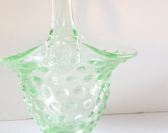 Green Glass Hobnail Easter Basket- Mint, Seafoam, Gorgeous Collectible