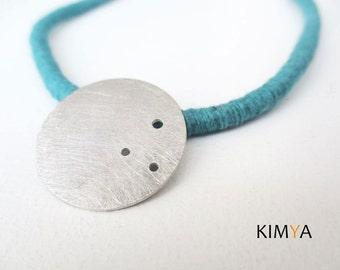 Contemporary Silver Necklace - Silver & Wrapped Cotton Cord Necklace - Silver Moon Necklace - Silver Circle Necklace - Contemporary Jewelry