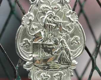 Apparition of Jesus to St Margaret Mary Alacoque Vintage Silver Religious Medal on 18 inch sterling silver rolo chain