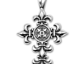 Sterling Silver Fleur de Lis Cross Religious Pendant on Black Satin Cord