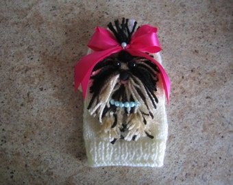 Dog Sweater Yorkie Cream With Hot Pink Bow  By Nina's Couture Closet