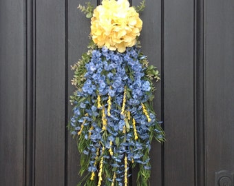 SALE was 75.00 Spring Wreath Summer Wreath Teardrop Vertical Door Swag Decor Yellow Hydrangea Blue Floral Swag Floral Door Decoration