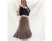 Vintage 90s Does 30s Fluted Midi Trumpet Skirt S M Cocoa Brown Gored Godet