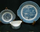 """Vintage Currier and Ives Royal China Gravy Boat with Underplate and """"The Rocky Mountains"""" Handled Cake Plate/Platter"""