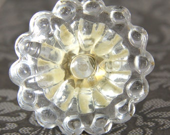 Clear glass dotty flower knob 4.6cm CLR001