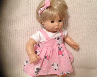 15 inch doll (modeled by Bitty Baby) Teddy bear jumper, white shirt and matching headband