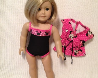 18 inch doll (modeled by American Girl) Minnie swimsuit, swim cover up and jelly shoes