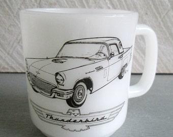 Rare Thunderbird Automobile Glasbake Mug // E.H. Lawton Vintage 1970s Advertising Promo