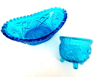 Turquoise Blue Pressed Glass Dish Bowl Set / Vintage Home Decor Gift Ideas