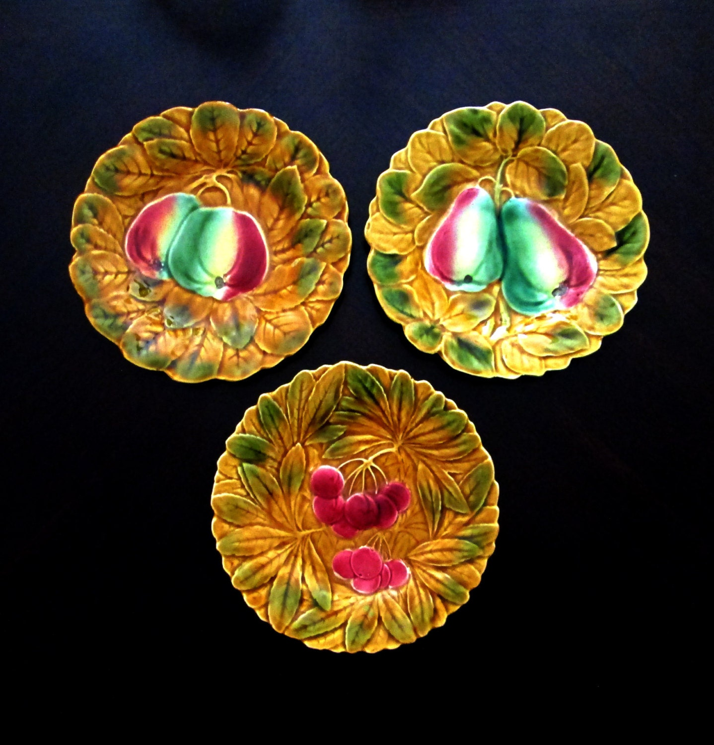 Majolica Fruit Plates Set Of 3 Made In France Home Decor