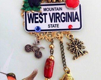 WEST VIRGINIA  Brooch -  Mountain State PiN- USA Mini License Plate Collage Jewelry