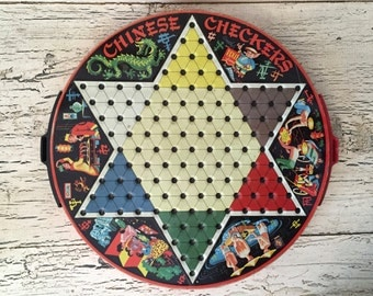 Vintage 1950s Double Sided Chinese Checkers - Checkers Game - Metal