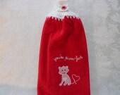Hanging Double Kitchen Cat Valentine Towel You're Purr-fect Cat Valentine Day Towel Crochet Hanging Kitchen Towel