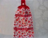 Hanging Double Kitchen Home is Where the Heart IsTowel Valentine Towel Heart Towel Crochet Hanging Kitchen Towel