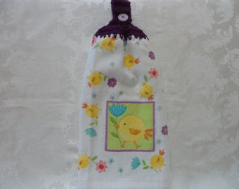 Hanging Double Kitchen Towel  Easter Towel Crochet Top Easter Chick Hanging Kitchen Towel Yellow Chick and Flowers Towel