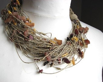 Amber & Mokait  net - linen necklace