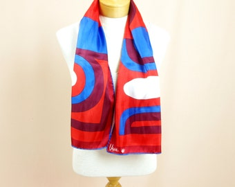 Vera Neumann Scarf * Silk Scarf * 60s Scarf * Red and Blue Scarf * Graphic Scarf * Vera Ladybug Scarf * 1960s Scarf