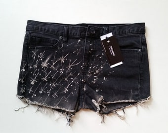 Calvin Klein Cut Offs _ Faded Black Shorts _ Denim Shorts _ Ombre Shorts _ Hand Painted _ Denim Cut Offs _ Stars _  Black Denim _ Designer
