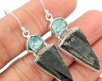 """Pair of Aquamarine & Tourmaline Earrings. Solid Sterling Silver. 2 1/8"""" LONG. All natural."""
