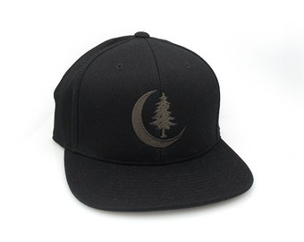 Men's/Unisex Hat - Crescent Moon and Pine - FlexFit Hat - Fitted & Snapback Options Available