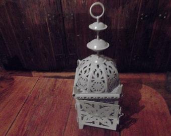 soft gray HANDPAINTED MOROCCAN LANTERN, metal, candle holder, for indoor , outdoor, alfresco dining, weddings, patio