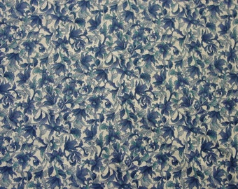 "Vintage Cotton Fabric, Hoffman of California, Windsor Collection Blue & White 6 Yards 44"" By the Yard"