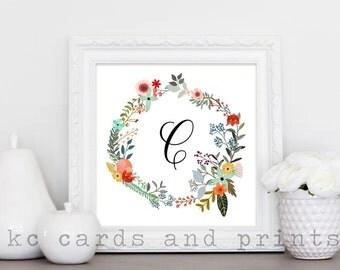 Letter C Monogram Printable - Letter C Monogram Art - Monogram Print - Nursery Monogram - Floral Monogram Wall Art