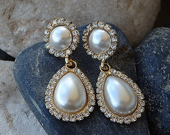 Bridal Teardrop Pearl Earrings, Ivory Pearl Earrings for Bride Pearl Wedding Jewelry, Swarovski & Pearl Dangle Earrings, Bridesmaid Jewelry
