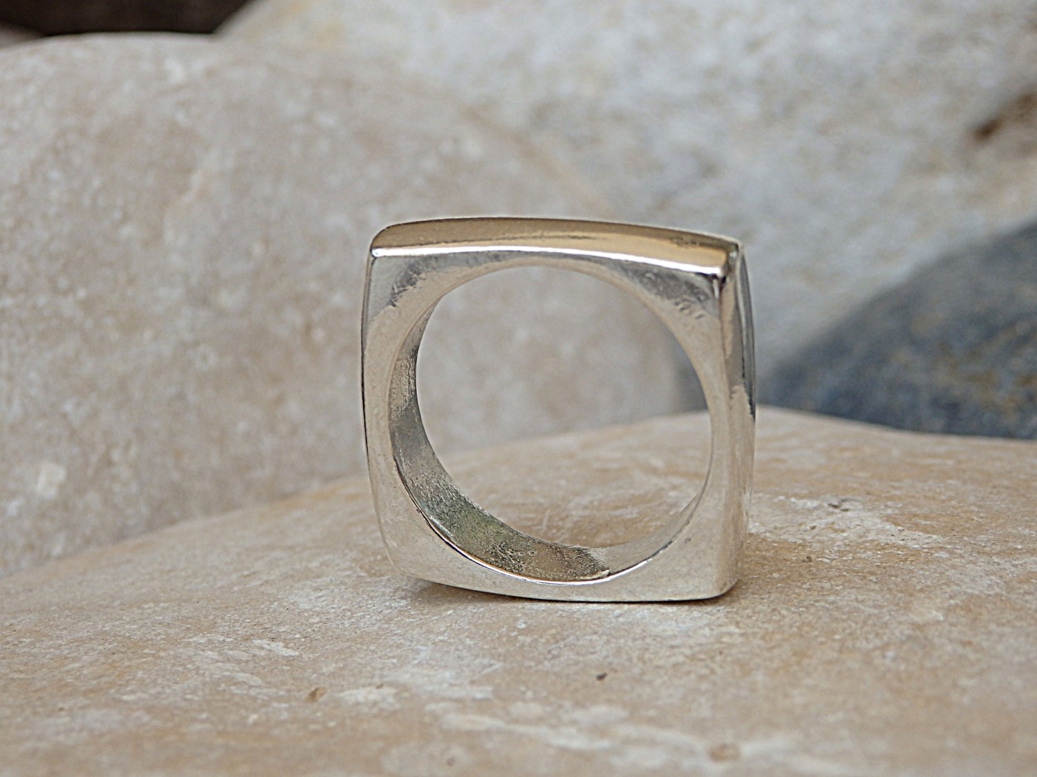 square band ring sterling silver square ring by