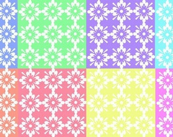 Digital download--Printable pastel floral tiles JPG files for cake decorating, scrapbooking  paper, printed wafer paper