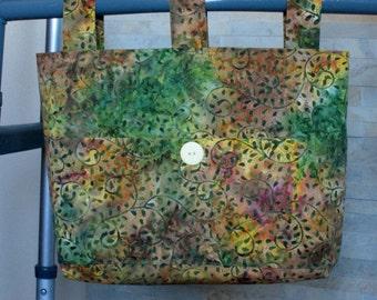 Adult Woman Walker Bag Tote Purse - Batik Multi Color Green, Gold/Yellow & Plum w/Pockets, Large Pastel Yellow Button