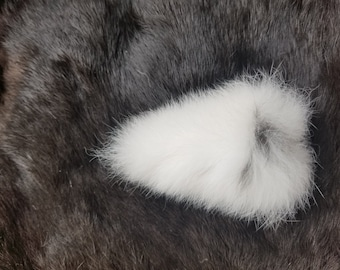 Rabbit Tail - Naturally Dried - White with Black Spot