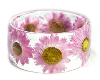 Flower Jewelry - Real Flower Jewelry - Pink Bracelet- Pink Bangle- Pink Flower Jewelry- Resin Jewelry- Flower Bangle- Pink Resin Bracelet