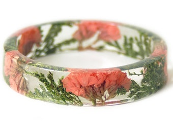 Bracelet - Real Flower Jewelry- Flower Jewelry- Jewelry with Real Flowers- Coral  Flowers- Green Bracelet -Resin Jewelry- Pink Bracelet