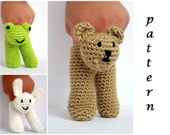 Two Finger Amigurumi Puppets Pattern crochet pattern amigurumi how to make finger puppets animal finger puppets crochet finger puppets