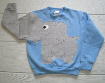 Light blue Childrens Elephant Trunk sleeve sweatshirt,  sweater, elephant jumper, KIDS small ONLY