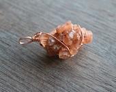 Aragonite Wire Wrap Pendant #4186