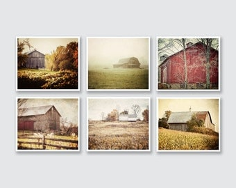 Rustic Barn Print or Canvas Art Set of 6, Barn Pictures Wall Gallery, Rustic Home Decor, Barn Print Set, Country Decor, Farmhouse Decor.