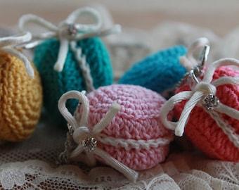 Macaron Necklace -  macaron pendant - Crochet macaron necklace - Parisian sweet macaron charm necklace